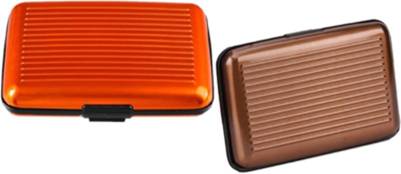 Alexus 6 Card Holder Card Holder Combo of Brown Orange
