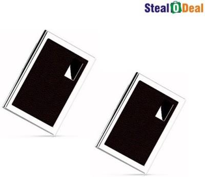 Stealodeal Brown Luxury Steel Aluminum 6 Card Holder