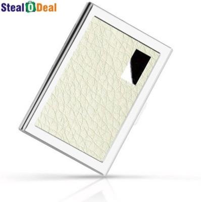 Stealodeal White Stainless Steel Pocket Business Credit Debit 6 Card Holder