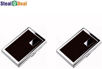 Stealodeal Brown Set of Leather Piece Stainless Steel 6 Card Holder