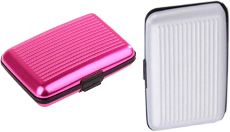Alexus 6 Card Holder Card Holder Combo of White Pink