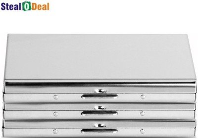 Stealodeal Double Sided Silver Plated Business 6 Card Holder
