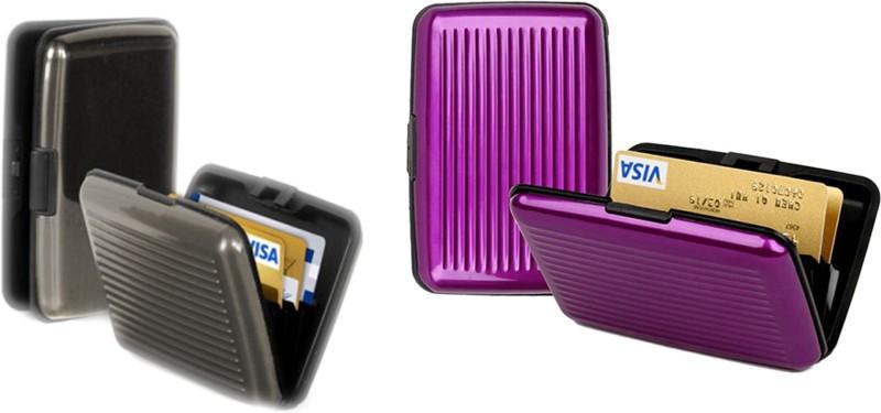 Alexus 6 Card Holder Card Holder Combo of Grey Megenta