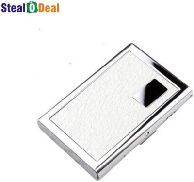 Stealodeal White Leather Piece Stainless Steel 6 Card Holder