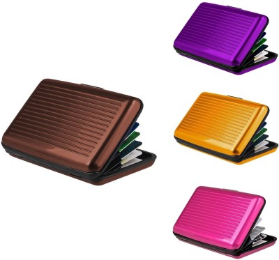 Lavi Pack of 4 Banker choice 6 Card Holder(Set of 4, Brown, Gold, Purple, Pink)