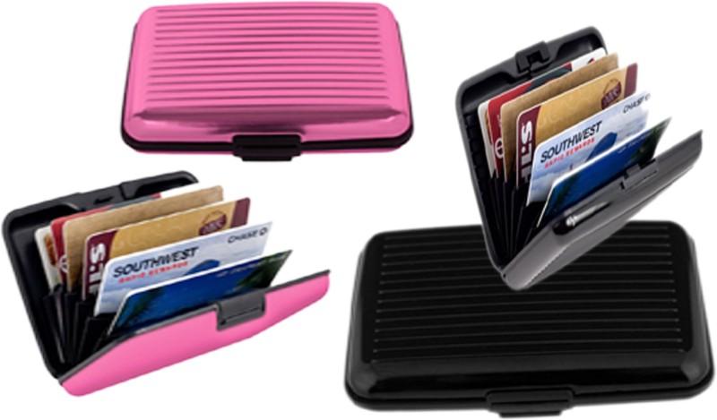 Alexus 6 Card Holder Card Holder Combo of Black Light Pink