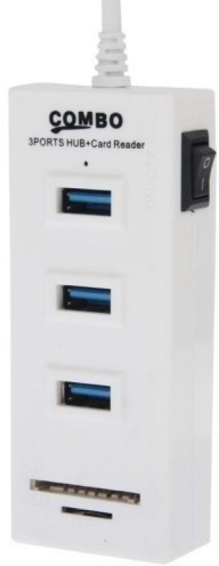 NewveZ 3 Port Cable Hub Card Reader(White)