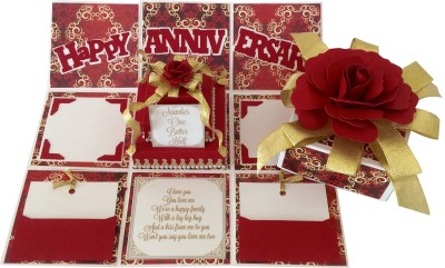 Crack of Dawn Crafts Anniversary Handmade Explosion Gift Box - Red & Gold Greeting Card