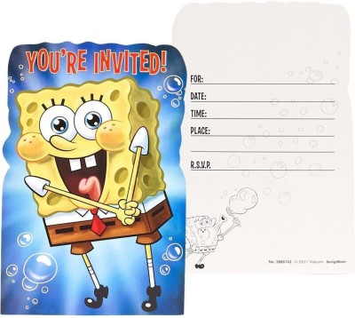 Amscan Unisex Adult SpongeBob Invitation Card(Yellow, Pack of 8)