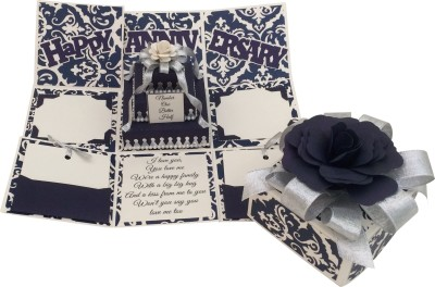 Crack of Dawn Crafts Anniversary Handmade Explosion Gift Box-Navy & Silver Greeting Card