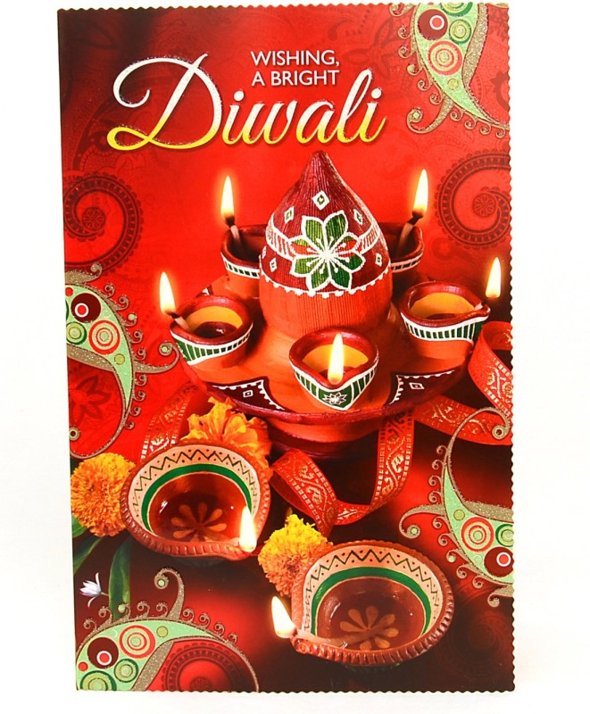 Reliable Profoundly Lighted Diwali Greeting Card(Multicolor, Pack of 1)