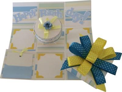 Crack of Dawn Crafts Birthday Handmade Explosion Box - Blue & Yellow Greeting Card
