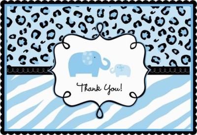 Amscan Sweet Safari Boy Thank You Note Post Card(Blue, Pack of 20)