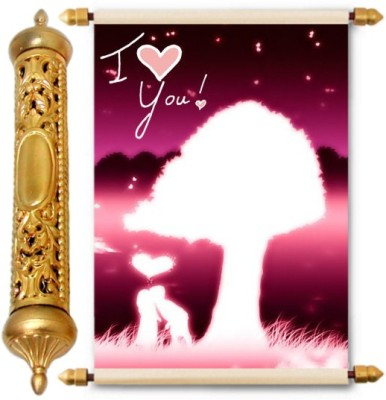 Lolprint Gold Love Scroll Greeting Card(Multicolor, Pack of 1)