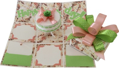 Crack of Dawn Crafts Birthday Handmade Explosion Gift Box - Peach and Green Greeting Card
