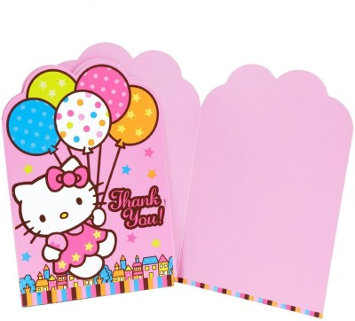 Amscan Hello Kitty Balloon Dreams Die-Cut Thank You Cards Greeting Card(Multicolor, Pack of 8)