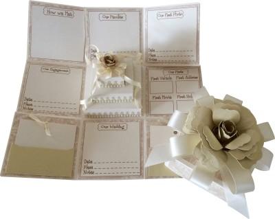 Crack of Dawn Crafts Wedding Handmade Explosion Gift Box- Cream & White Greeting Card