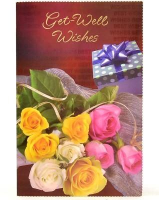 Reliable Pink, Yellow and White Roses Get Well Soon Greeting Card
