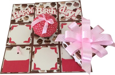 Crack of Dawn Crafts Birthday Handmade Explosion Gift Box - Cup Cakes Greeting Card