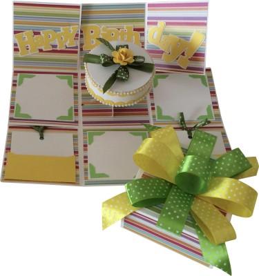 Crack of Dawn Crafts Birthday Handmade Explosion Gift Box - Bright Stripes Greeting Card