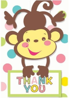 Amscan Fisher Price Baby Folded Thank You Notes Greeting Card(Multicolor, Pack of 8)