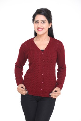 Kantham Women,s Button Self Design Cardigan