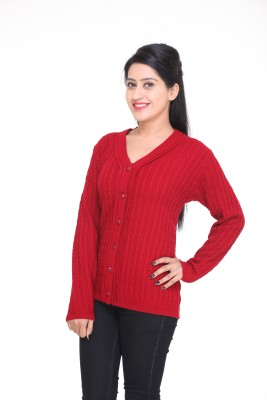 Kantham Womens Button Self Design Cardigan