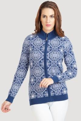 Moda Elementi Womens Zipper Paisley Cardigan