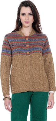 TAB91 Women's Button Self Design Cardigan