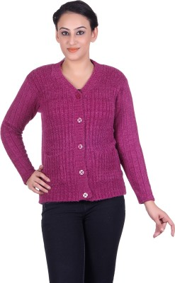 LAADLI JI Women's Button Solid, Self Design Cardigan