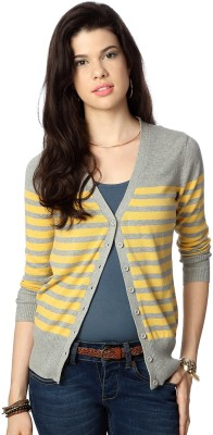 People Women's Button Striped Cardigan