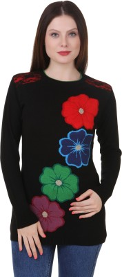 Spink Embroidered Round Neck Women's Black Sweater