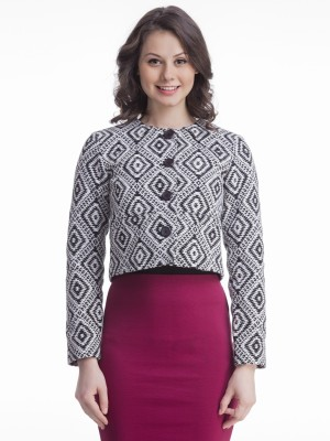 Femella Women's Button Printed Cardigan