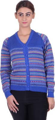 Ecools Women's Button Solid, Geometric Print Cardigan