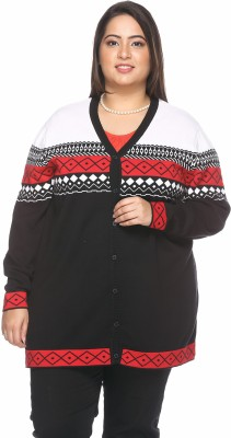 PlusS Women's Button Solid Cardigan