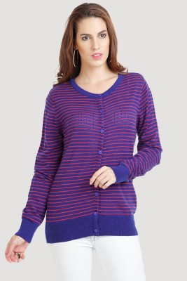 Moda Elementi Womens Button Striped Cardigan