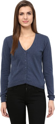 TheGudLook Women's Button Solid Cardigan