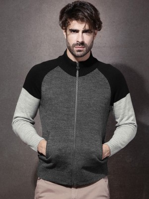 Roadster Men's Zipper Solid Cardigan