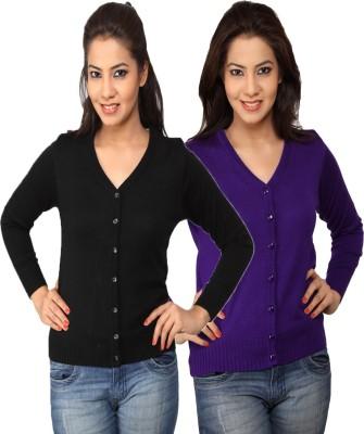 Sls Women's Button Solid Cardigan