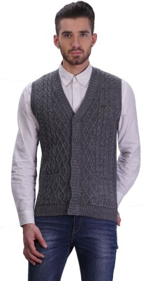 TSAVO Men's Button Solid Cardigan
