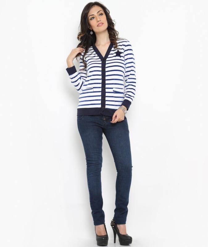 Bedazzle Women's Button Striped Cardigan