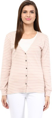Trend18 Women's Button Striped Cardigan
