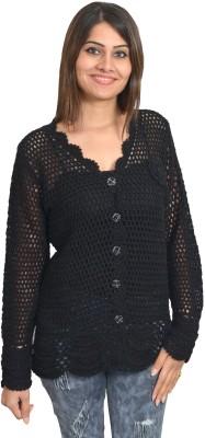 Picot Women's Button Self Design Cardigan