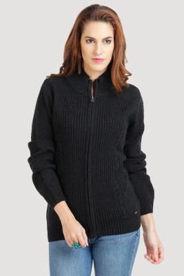 Moda Elementi Women's Zipper Self Design Cardigan
