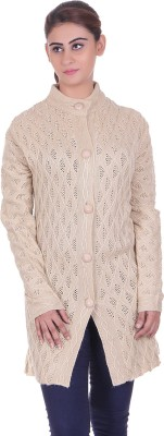 eCools Women's Button Solid, Woven Cardigan