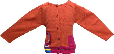 Parv Collections Girl's Button Cardigan
