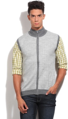 John Players Men's Zipper Solid Cardigan