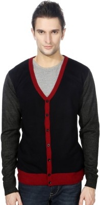 Peter England Mens Button Solid Cardigan