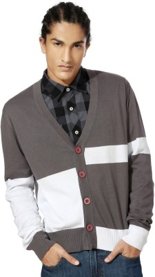 People Men's Button Printed Cardigan