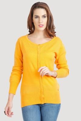 Moda Elementi Womens Button Solid Cardigan